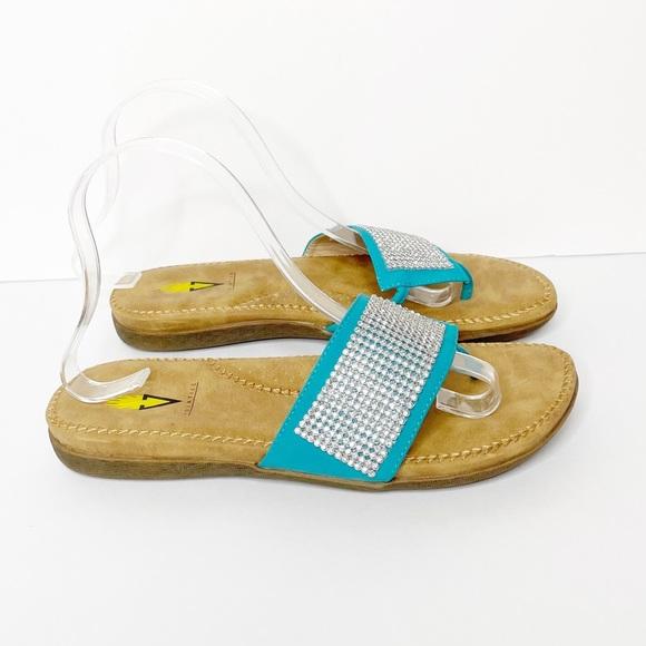 VOLATILE Turquoise Silver Metallic Thong Sandals
